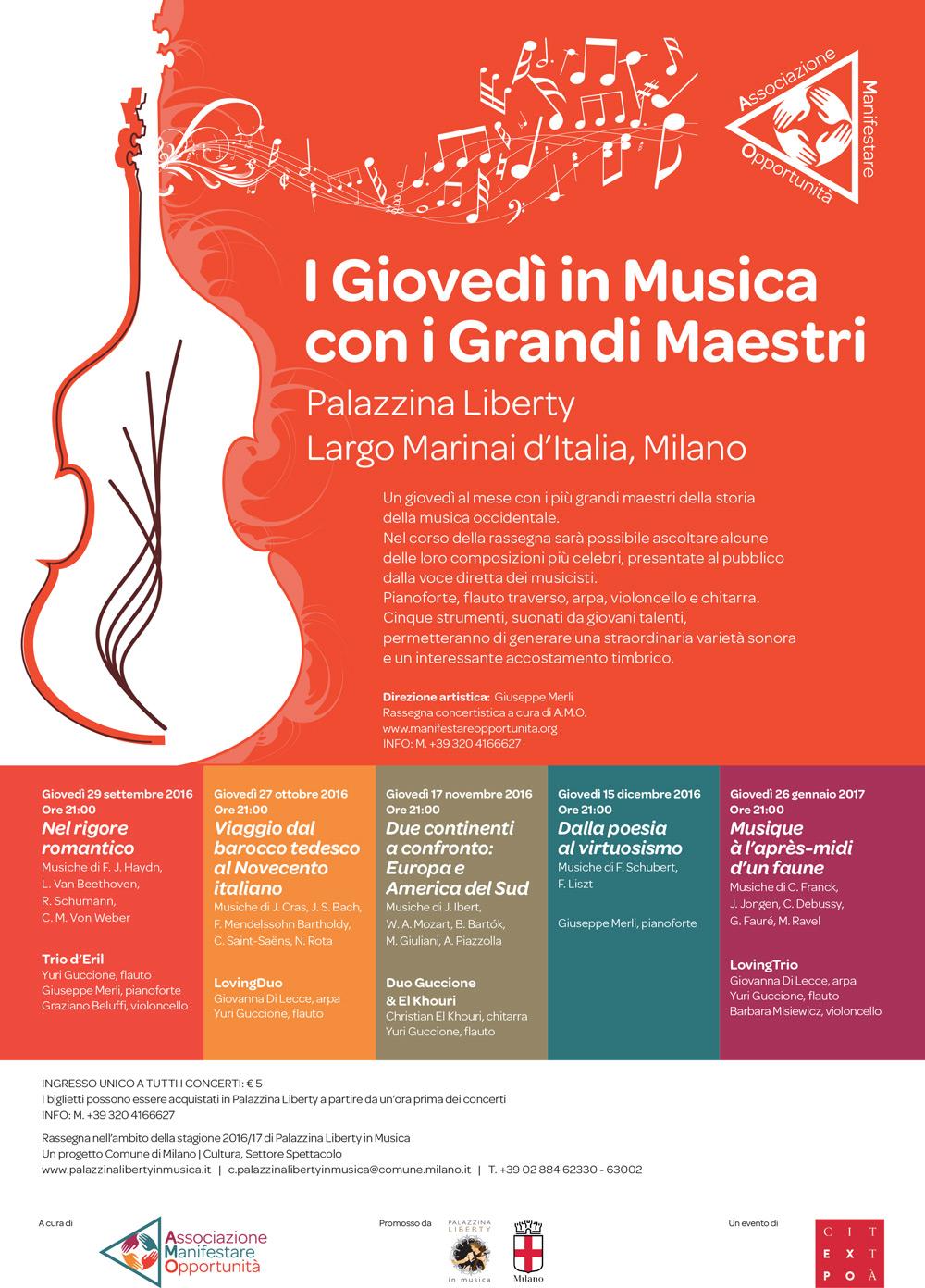 """Rassegna concertistica """"I giovedì in musica con i Grandi Maestri"""" - Palazzina Liberty (Milano)"""